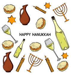 hanukkah traditional jewish holiday symbols vector image