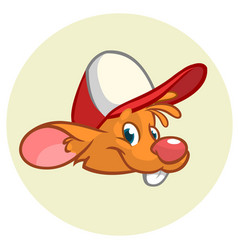 happy cartoon mouse head vector image vector image