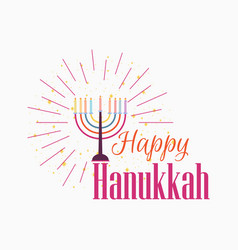 happy chanukah candlestick with nine candles vector image
