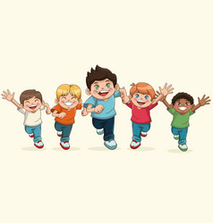 happy children day cartoon group boy smiling vector image