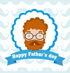happy fathers day cartoon label vector image