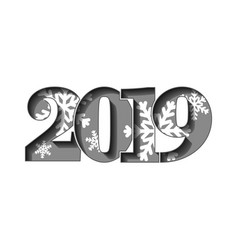 happy new year card gray 3d number 2019 vector image