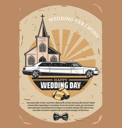 happy wedding day retro greeting card design vector image