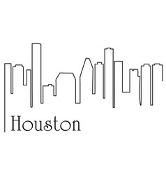 houston city one line drawing vector image
