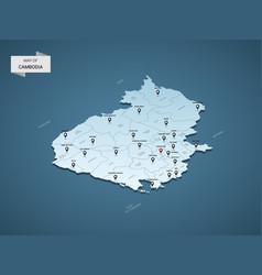Isometric 3d cambodia map concept vector