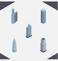 isometric building set of skyscraper exterior vector image