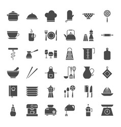 Kitchen utensils solid web icons vector
