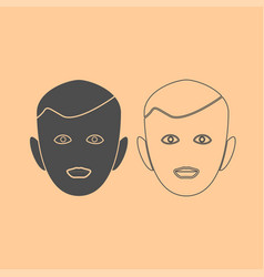 little boy face dark grey set icon vector image