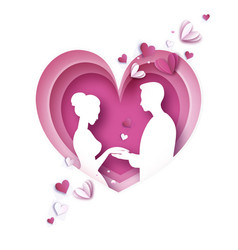 Love paper cut style origami couple valentines vector
