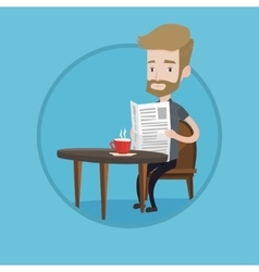 Man reading newspaper and drinking coffee vector image
