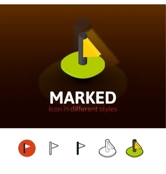 Marked icon in different style vector