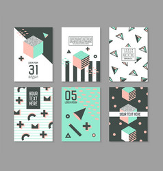 Memphis style geometric elements poster templates vector