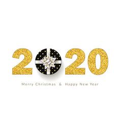 merry christmas card 3d gift box ribbon bow vector image