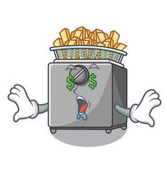 Money eye deep fryer machine isolated on mascot vector