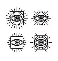 One eye sign symbol logo logotype collection vector