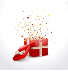 Opened Red Gift Box with ribbon and flying vector image