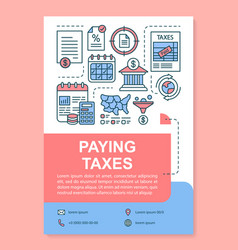 Paying taxes poster template layout finance vector