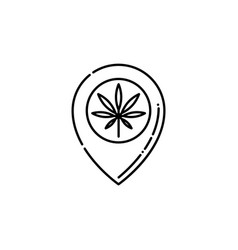 Pinpoint with marijuana leaf inside line icon vector
