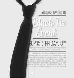Realistic white shirt black tie event invitation vector