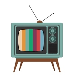 retro classic tv with antenna and colored stripes vector image