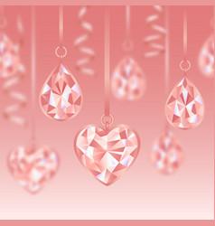 romantic seamless border whit pink diamonds vector image