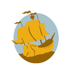 Sailing ship galleon retro vector