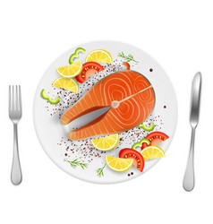 salmon fish steak on plate realistic vector image