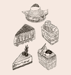 set cake hand draw sketch vector image
