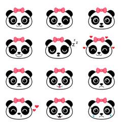 set cute cartoon panda emotions vector image