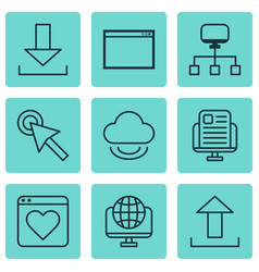 set of 9 online connection icons includes vector image