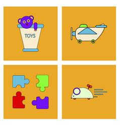 Set of children toys in different sets in flet vector