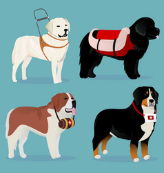 Set of dogs rescuers and helpers vector