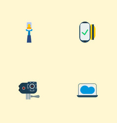 set of trendy icons flat style symbols with selfie vector image