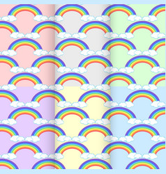 Set rainbow cloud seamless pattern abstract on vector