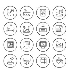 Set round line icons hotel vector