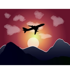 setting of the sun flying plane vector image