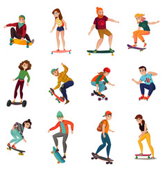 skateboarders characters set vector image