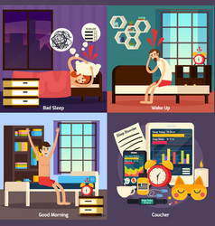 Sleep disorder orthogonal design concept vector