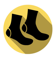 socks sign flat black icon with flat vector image
