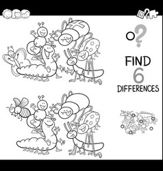 Spot the difference with insects coloring book vector