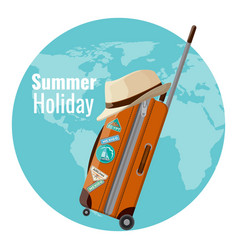 summer holiday promo banner with suitcase and hat vector image