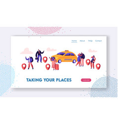 taxi service website page people order taxi vector image