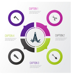 Tools icons set collection of shears vector