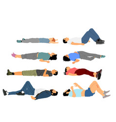 unconscious people with injury lying down vector image
