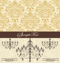 Vintage damask invitation card with chandelier vector