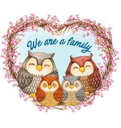 Watercolor cute owl family on a heart wreath vector