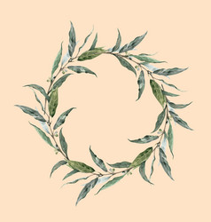 watercolor laurel wreath vector image