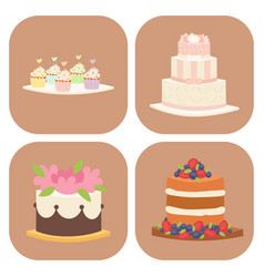 wedding cakes fresh tasty dessert sweet pastry pie vector image