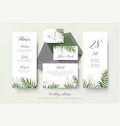 Wedding greenery cards collection with palm leaves vector