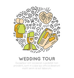 Wedding travel tour hand draw cartoon icon vector